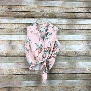 Tommy Bahama • Silk Hawaiian Tie Front Button Up